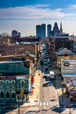 View of Old City from the Ben Franklin Bridge Walkway, in Philad Stock Photos