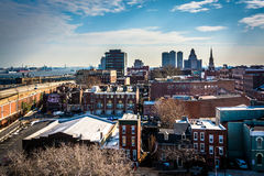 View of Old City from the Ben Franklin Bridge Walkway, in Philad Stock Photography