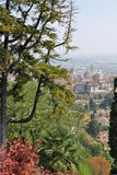 The view of the old city Bergamo. The  upper town (Cittа Alta) of Bergamo, view on a sunny day Royalty Free Stock Photo