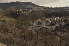 View of old city of Bern from Rosengarten with Gurten hill on sunset . Switzerland. Stock Images