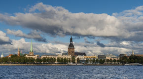 View on old city from embankment of the Daugava river, Riga, Latvia Stock Photos