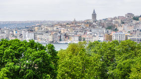 View of the old city of Istanbul and the Galata Tower, Turkey Royalty Free Stock Images