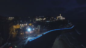 View of the old city of Jaffa in Tel Aviv at night stock video