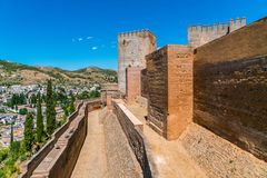 View on the old city of La Alhambra near Granada Stock Photo