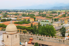 View of the old city from the Leaning Tower in Pisa, Italy. View of the old city from the Leaning Tower. Pisa, Italy Royalty Free Stock Photo