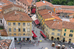 View of the old city from the Leaning Tower in Pisa, Italy Royalty Free Stock Photography
