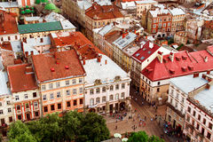 View of the old city of Lviv. Top view of the old city of Lviv Stock Photos