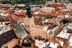 View of the old city of Lviv. Top view of the old city of Lviv Stock Photo
