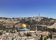 View of the old city, the mosque of the Rock Omar, the temple mount, the mount of olives. Jerusalem. Israel Royalty Free Stock Photo