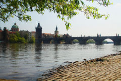 View of the old city of Prague - Charles Bridge - Vltava river Royalty Free Stock Images