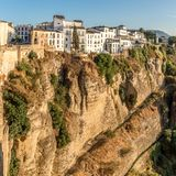 View at the old city of Ronda at the bottom of the El Tajo gorge. Stock Images
