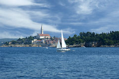 View of the old city Rovinj from the sea Stock Photography