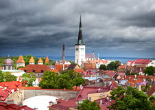View of Old city's roofs in a thunder-storm. Tallinn. Estonia. Royalty Free Stock Image