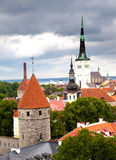 View of Old city's roofs in a thunder-storm. Tallinn. Estonia. Stock Photo