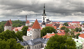View of Old city's roofs under the storm sky. Tallinn. Estonia Royalty Free Stock Photography