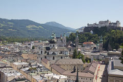 View On The Old City Of Salzburg and Fortress Stock Photo