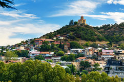 View of old city and Tabor Monastery in Tbilisi, Georgia. View of Old city and Tabor Monastery on top of mountain. Tbilisi, Georgia stock image