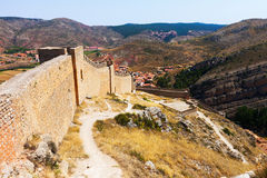 View of old city wall in Albarracin Stock Image