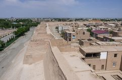 View of old city walls and towers Khiva, Uzbekistan stock photography