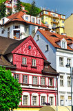 View of old colorful buildings in Karlovy Vary, Czech Republic Stock Photography