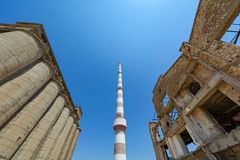 Old abandoned industrial facilities at Greece. Royalty Free Stock Photography