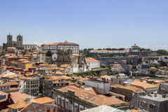 View of old downtown, city Castle and famous Dom Luiz Bridge Royalty Free Stock Photos