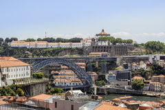 View of old downtown, city Castle and famous Dom Luiz Bridge Stock Image
