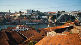 View of old downtown, Douro river and Dom Luis I bridge, Porto Stock Photography