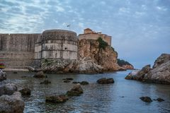 Dubrovnik walls. View of old Dubrovnik city walls at sunset Royalty Free Stock Photos