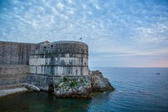 Dubrovnik walls. View of old Dubrovnik city walls at sunset Stock Photography
