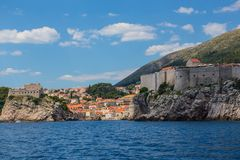 Dubrovnik walls. View of old Dubrovnik city walls at sunset Stock Photo