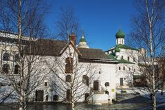 View of the old English courtyard and the Church of Maxim the blessed, Zaryadye, Moscow. Russia Stock Photo