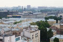 View of old European city from height of bird's flight. Saint Petersburg, Russia, Northern Europe. Royalty Free Stock Images