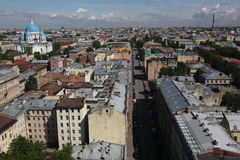 View of old European city from height of bird's flight. Saint Petersburg, Russia, Northern Europe. Stock Photography
