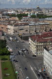 View of old European city from height of bird's flight. Saint Petersburg, Russia, Northern Europe. Royalty Free Stock Photo