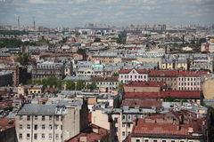 View of old European city from height of bird's flight. Saint Petersburg, Russia, Northern Europe. The view from the panoramic restaurant of the hotel Azimut Royalty Free Stock Photo