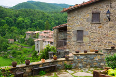 View of old european village. Rupit i Pruit Royalty Free Stock Photography