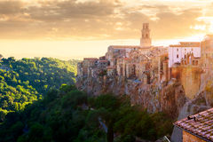View at the old famous tuff city of Pitigliano Stock Photo
