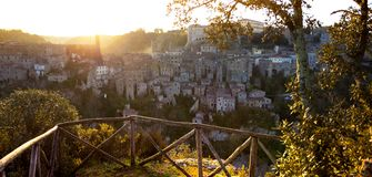 Tuff city of Sorano. View at the  the old  famous tuff city of Sorano at dawn, province of Siena. Tuscany, Italy Stock Images