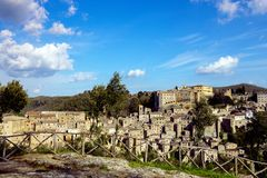 View at the Sorano. View at the old famous tuff city of Sorano, province of Siena. Tuscany, Italy Royalty Free Stock Image