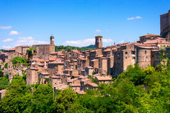 View at the old famous tuff city of Sorano Stock Photos