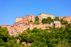 View at the old famous tuff city of Sorano Royalty Free Stock Images