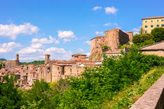 View at the old famous tuff city of Sorano Stock Photo