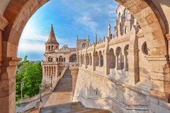 View on the Old Fisherman Bastion in Budapest. Arch Gallery Royalty Free Stock Image