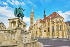 View on the Old Fisherman Bastion in Budapest. Statue Saint Istv Stock Image