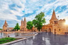View on the Old Fishermen Bastion in Budapest at morning time. Hungary stock photography