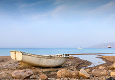 View on the old fishing boat and the Red sea, Eilat Stock Photo