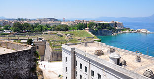 View of the old fort and the town of Corfu, Greece, Europe Royalty Free Stock Image