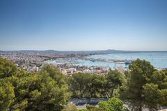 View from the Old fortified castle high above Palma in Majorca Royalty Free Stock Images