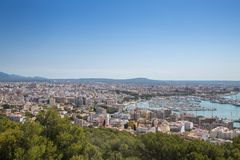 View from the Old fortified castle high above Palma in Majorca stock photography